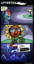 Size: 1303x2455 | Tagged: safe, artist:discorded, rainbow dash, do princesses dream of magic sheep, censored dialogue, comic, crossover, determination, flowey, flute, frisk, musical instrument, nightmare sunflower, oh crap, sunflower, undertale, xk-class end-of-the-world scenario