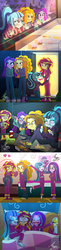 Size: 979x4032 | Tagged: safe, artist:bluse, adagio dazzle, aria blaze, sonata dusk, sunset shimmer, equestria girls, aftermath, all in one, begging, blushing, chips, clothes, comic, cookie, cuddling, cute, drinking, eating, eyes closed, food, homeless, hospitality, house, hungry, i've lost control of my life, kill me, pajamas, potato chips, show accurate, sleeping, smiling, snoring, snuggling, sunset shimmer gets all the dazzlings, the dazzlings, the wandering dazzlings, tired, when she smiles, wide eyes