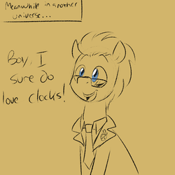 Size: 750x750 | Tagged: safe, artist:craftykraken, doctor whooves, time turner, pony, male, monochrome, solo, stallion