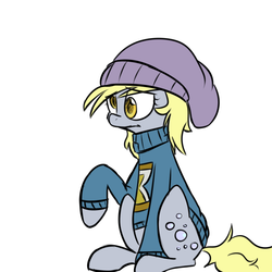 Size: 750x750   Tagged: safe, artist:craftykraken, derpy hooves, pegasus, pony, cap, clothes, female, hat, mare, solo, sweater