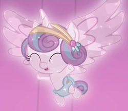 Size: 896x780 | Tagged: safe, screencap, princess flurry heart, alicorn, crystal pony, pony, the crystalling, baby, baby alicorn, baby flurry heart, baby pony, cloth diaper, cooing, cropped, crystal diaper, crystallized, cute, dawwww, diaper, diapered, diapered filly, eyes closed, female, filly, flurrybetes, flying, foal, hairclip, happy, newborn baby, newborn filly, open mouth, pink diaper, safety pin, solo