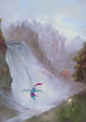 Size: 1241x1754   Tagged: safe, artist:eosphorite, oc, oc only, bird, pegasus, pony, commission, rainbow, scenery, scenery porn, solo, waterfall