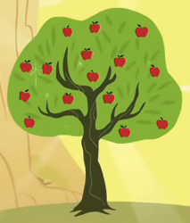 Size: 213x250 | Tagged: safe, screencap, bloomberg, over a barrel, apple tree, cropped, solo, tree