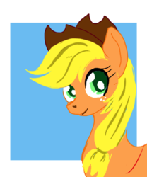 Size: 767x921 | Tagged: safe, artist:ciaran, derpibooru exclusive, applejack, earth pony, pony, abstract background, bust, colored pupils, female, hat, legitimately amazing mspaint, looking at you, mare, ms paint, simple background, smiling, solo