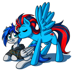 Size: 2276x2200 | Tagged: safe, artist:alittleofsomething, oc, oc only, oc:andrew swiftwing, oc:sapphire sights, pegasus, pony, clothes, cute, female, hoodie, kiss on the cheek, kissing, male, oc x oc, piercing, shipping, straight