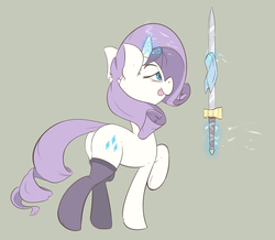 Size: 1200x1047 | Tagged: alternate universe, artist:tentinythimbles, clothes, eyepatch, magic, rarity, safe, solo, stockings, sword, sword rara, weapon