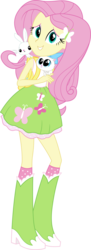 Size: 5200x14232 | Tagged: safe, artist:sugar-loop, angel bunny, fluttershy, mitsy, cat, rabbit, equestria girls, .ai available, .svg available, absurd resolution, adobe illustrator, backpack, boots, clothes, cute, high heel boots, kitten, looking at you, simple background, skirt, socks, solo, tanktop, transparent background, vector