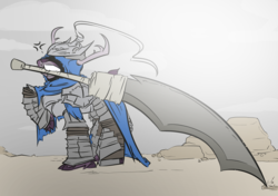 Size: 3000x2109 | Tagged: safe, artist:bbsartboutique, oc, oc only, oc:rassy, deer, armor, barely pony related, dark souls, greatsword, solo, stag, tangentially pony related