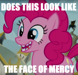 Size: 802x776 | Tagged: broken teeth, creepy, face of mercy, image macro, meme, pinkie pie, safe, screencap, the lost treasure of griffonstone