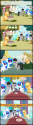 Size: 1047x3909 | Tagged: safe, artist:bronybyexception, applejack, bon bon, dj pon-3, lyra heartstrings, octavia melody, princess celestia, sweetie drops, vinyl scratch, ask honest applejack, bait and switch, best friends, clothes, dress, earring, flower, harp, implied scratchtavia, implied shipping, judaism, just friends, musical instrument, octavius, piercing, pointy ponies, record scrape, rule 63, wedding, wedding dress