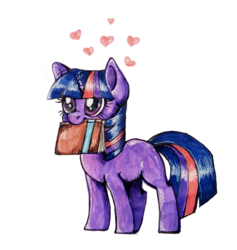 Size: 740x782 | Tagged: safe, artist:buttersprinkle, twilight sparkle, book, cute, female, filly, filly twilight sparkle, heart, solo, that pony sure does love books, traditional art, twiabetes, younger