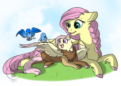 Size: 1400x1000 | Tagged: artist:bluesidearts, bird, braid, fluttershy, hybrid, interspecies offspring, mother and daughter, oc, oc:panacea, offspring, parent:discord, parent:fluttershy, parents:discoshy, safe