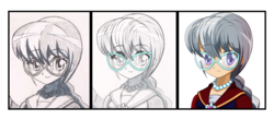 Size: 2500x1100 | Tagged: safe, artist:ruhisu, silver spoon, human, blushing, cel shading, clothes, female, glasses, human coloration, humanized, school uniform, smiling, solo, wip