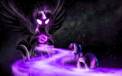Size: 1920x1200 | Tagged: safe, artist:empalu, twilight sparkle, alicorn, pony, unicorn, apotheosis, ascension, avatar state, avatar the last airbender, enlightenment, female, glowing eyes, mare, self ponidox, space, spread wings, stars, surreal, twilight sparkle (alicorn), unicorn twilight