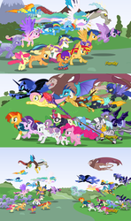 Size: 6000x10125 | Tagged: absurd res, alicorn, angry, apple bloom, applejack, armor, artist:crisostomo-ibarra, awesome, badass, bat pony, bloodstone scepter, captain america: civil war, charge, civil war, comic, counterparts, crystal guard, crystal pony, cutie mark crusaders, discord, discovery family logo, dragon, dragon lord ember, eyes closed, fake, fake screencap, female, flash sentry, fluttershy, flying, i can't believe it's not hasbro studios, levitation, lightning dust, magic, magical quintet, mane six, mare, marvel, moondancer, night guard, nightmare moon, pinkie pie, pony, princess cadance, princess celestia, princess ember, princess luna, rainbow dash, rarity, royal sisters, safe, scootaloo, scooter, scorpan, self-levitation, shadowbolts, shining armor, soarin', spear, spike, spitfire, staff, starlight glimmer, sunburst, sunset shimmer, sweetie belle, telekinesis, trixie, twilight's counterparts, twilight sparkle, twilight sparkle (alicorn), weapon, wonderbolts, zebra, zecora