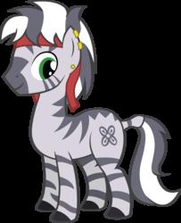 Size: 2612x3209 | Tagged: safe, artist:duskthebatpack, oc, oc only, oc:zaheed, zebra, earring, headband, male, piercing, simple background, solo, stallion, transparent background, vector