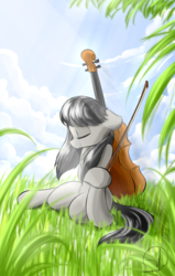Size: 1080x1700   Tagged: safe, artist:phuocthiencreation, octavia melody, background pony, bow (instrument), cello, cello bow, eyes closed, female, field, musical instrument, relaxing, signature, sitting, solo