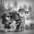 Size: 2000x2000 | Tagged: safe, artist:ruhisu, oc, oc only, bat pony, pony, bay, black and white, cigarette, city, clothes, coat, destroyer, detective, female, fog, grayscale, harbor, hat, male, mare, mist, monochrome, noir, ship, sketch, smoking, stallion, wip