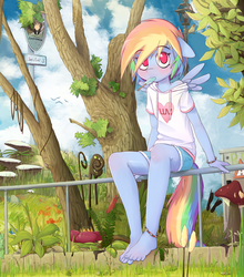 Size: 1850x2100 | Tagged: safe, artist:hoodie, rainbow dash, anthro, plantigrade anthro, anklet, barefoot, blushing, bracelet, clothes, cute, dashabetes, detailed, feet, female, floppy ears, food, forest, grass, hoodie, ice cream, lamppost, looking at you, mouth hold, mushroom, outdoors, park, popsicle, sea salt ice cream, shirt, shorts, sitting, solo, toes