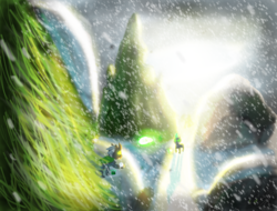 Size: 4698x3570   Tagged: safe, artist:icarys, oc, oc only, oc:icarys, changeling, absurd resolution, drawn on phone, green changeling, male, outdoors, scenery, snow, snowball fight, snowfall