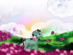 Size: 748x564   Tagged: safe, artist:kida-ll, fizzy, g1, cute, female, filly, fizzybetes, magic, nature, rainbow, solo, younger
