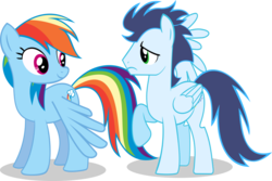 Size: 1024x682 | Tagged: safe, artist:jpokebrony, rainbow dash, soarin', pony, injured wing, old cutie mark, shipping fuel, simple background, transparent background, vector