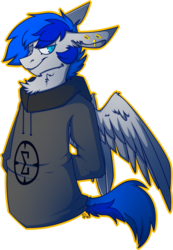 Size: 656x946 | Tagged: safe, artist:dr-idiot, oc, oc only, oc:turquoise, semi-anthro, clothes, gauges, hoodie, piercing, solo