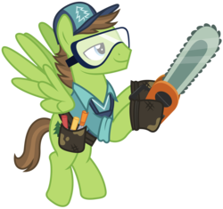 Size: 10000x9400 | Tagged: absurd res, adobe illustrator, artist:mpnoir, cap, chainsaw, clothes, douglas spruce, evergreen, full body, goggles, hat, princess spike (episode), safe, simple background, smiling, solo, .svg available, toolbelt, transparent background, vector