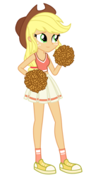 Size: 1800x3500   Tagged: safe, alternate version, artist:mixiepie, applejack, equestria girls, cheerleader, clothes, female, midriff, paint tool sai, school spirit, shoes, simple background, sneakers, socks, solo, transparent background, vector