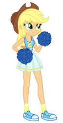Size: 1800x3500 | Tagged: safe, artist:mixiepie, applejack, equestria girls, canterlot high, cheerleader, clothes, cowboy hat, female, hat, midriff, paint tool sai, pleated skirt, pom pom, school spirit, shoes, simple background, skirt, sneakers, socks, solo, stetson, transparent background, vector, wondercolts
