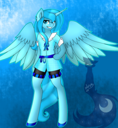 Size: 1325x1432 | Tagged: safe, artist:blackdark143, princess luna, anthro, unguligrade anthro, arm hooves, clothes, ear fluff, grin, s1 luna, shirt, shorts, solo, spread wings
