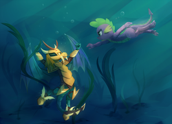 Size: 1656x1200 | Tagged: safe, artist:scootiebloom, princess ember, spike, dragon, gauntlet of fire, asphyxiation, dragon armor, drowning, rescue, scene interpretation, swimming, underwater