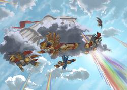 Size: 2500x1758 | Tagged: safe, artist:doomsp0rk, pegasus, pony, armor, cloud, flying, helmet, nightfall in equestria, rainbow, rainbow waterfall, wing armor, worm's eye view