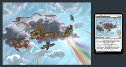 Size: 1606x850 | Tagged: safe, artist:doomsp0rk, armor, card, flying, magic the gathering, rainbow
