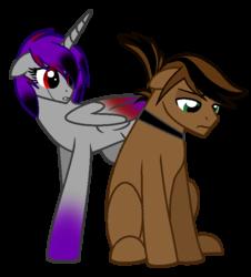 Size: 650x720 | Tagged: safe, artist:grimreapercat, oc, oc only, oc:dark aura, oc:ninja blade, alicorn, pony, alicorn oc