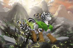 Size: 1920x1280 | Tagged: safe, artist:doomsp0rk, oc, oc only, zebra, action pose, clothes, magic, mountain, nightfall in equestria, solo, zebra oc