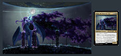 Size: 1833x850 | Tagged: safe, artist:doomsp0rk, princess luna, alicorn, pony, card, ethereal mane, female, god, goddess, magic the gathering, mare, moon, solo, starry mane