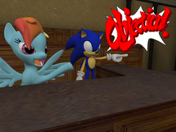 Size: 1024x768 | Tagged: safe, artist:supersonic331, rainbow dash, 3d, ace attorney, crossover, gmod, objection, sonic the hedgehog, sonic the hedgehog (series), text