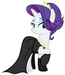 Size: 2600x3000 | Tagged: safe, artist:cheezedoodle96, rarity, pony, the gift of the maud pie, .svg available, alternate hairstyle, audrey hepburn, bedroom eyes, black dress, breakfast at tiffany's, clothes, dress, evening gloves, female, gloves, gown, holly golightly, little black dress, mare, necklace, pearl necklace, simple background, smiling, solo, svg, tiara, transparent background, vector