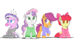 Size: 1280x720   Tagged: safe, artist:ncmares, color edit, edit, apple bloom, diamond tiara, scootaloo, sweetie belle, a day late, bread, clothes, colored, cutie mark crusaders, donut, food, hoodie, recolor, simple background, socks, striped socks, white background