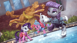 Size: 1920x1080 | Tagged: safe, artist:assasinmonkey, maud pie, pinkie pie, rarity, earth pony, pony, unicorn, the gift of the maud pie, clothes, female, ice rink, ice skates, ice skating, mare, maudjestic, scene interpretation, skating, smiling, statue of prometheus, that was fast