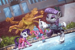 Size: 1920x1280 | Tagged: safe, artist:assasinmonkey, maud pie, pinkie pie, rarity, earth pony, pony, unicorn, the gift of the maud pie, balancing, clothes, dress, female, frown, grin, ice rink, ice skates, ice skating, mare, maudjestic, open mouth, raised hoof, raised leg, scene interpretation, skating, skirt, smiling, statue of prometheus, that was fast