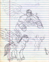 Size: 944x1194 | Tagged: safe, artist:wisdom-thumbs, oc, oc only, pegasus, pony, burned, cutie mark, disabled, injured, injured wing, large wings, lined paper, monochrome, muscles, pencil drawing, scar, sketch, solo, swordpony, traditional art