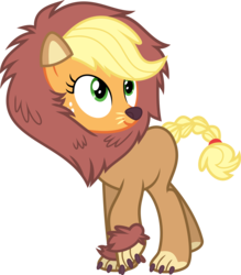 Size: 6000x6844 | Tagged: safe, artist:yetioner, applejack, earth pony, pony, scare master, absurd resolution, applelion, clothes, costume, female, freckles, mare, nightmare night, nightmare night costume, simple background, solo, transparent background, vector