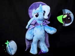 Size: 1280x960 | Tagged: safe, artist:kiashone, trixie, pony, unicorn, anthro plushie, bipedal, cape, clothes, commission, cutie mark, hat, irl, photo, plushie, solo, trixie's cape, trixie's hat