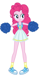 Size: 1800x3500 | Tagged: safe, artist:mixiepie, pinkie pie, equestria girls, belly button, canterlot high, cheerleader, cheerleader pinkie, clothes, female, midriff, pleated skirt, pom pom, school spirit, shoes, simple background, skirt, socks, solo, sports bra, transparent background, vector, wondercolts