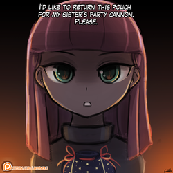 Size: 750x750 | Tagged: safe, artist:lumineko, maud pie, equestria girls, the gift of the maud pie, clothes, dialogue, equestria girls interpretation, female, fire, glare, patreon, patreon logo, pouch, rock pouch, scene interpretation, solo, that was fast, the fire in her eyes, tranquil fury