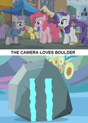 Size: 509x710 | Tagged: bouldcam, boulder (pet), boultom, camera, crying, maud pie, meme, pinkie pie, rarity, safe, shipping, shipping denied, the gift of the maud pie, tom