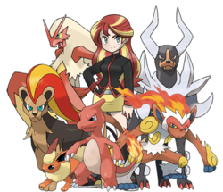 Size: 965x828 | Tagged: safe, artist:kianamai, sunset shimmer, blaziken, charmeleon, flareon, houndoom, pyroar, equestria girls, crossover, infernape, pokémon, pokémon team, style emulation