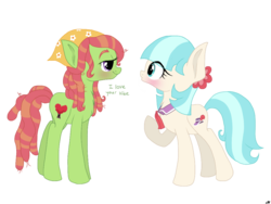Size: 1024x768 | Tagged: artist:lillian, blushing, chest fluff, coco pommel, dialogue, lesbian, safe, shipping, treecoco, tree hugger